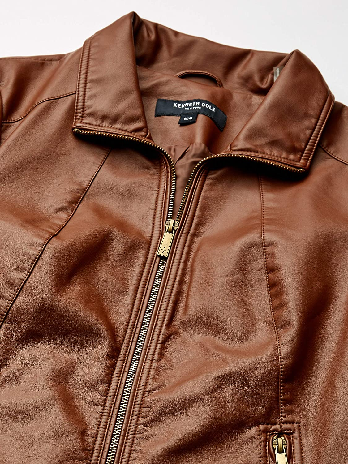 Kenneth Cole New York Womens Zip Front Faux Leather JKT Faux-Leather Jacket