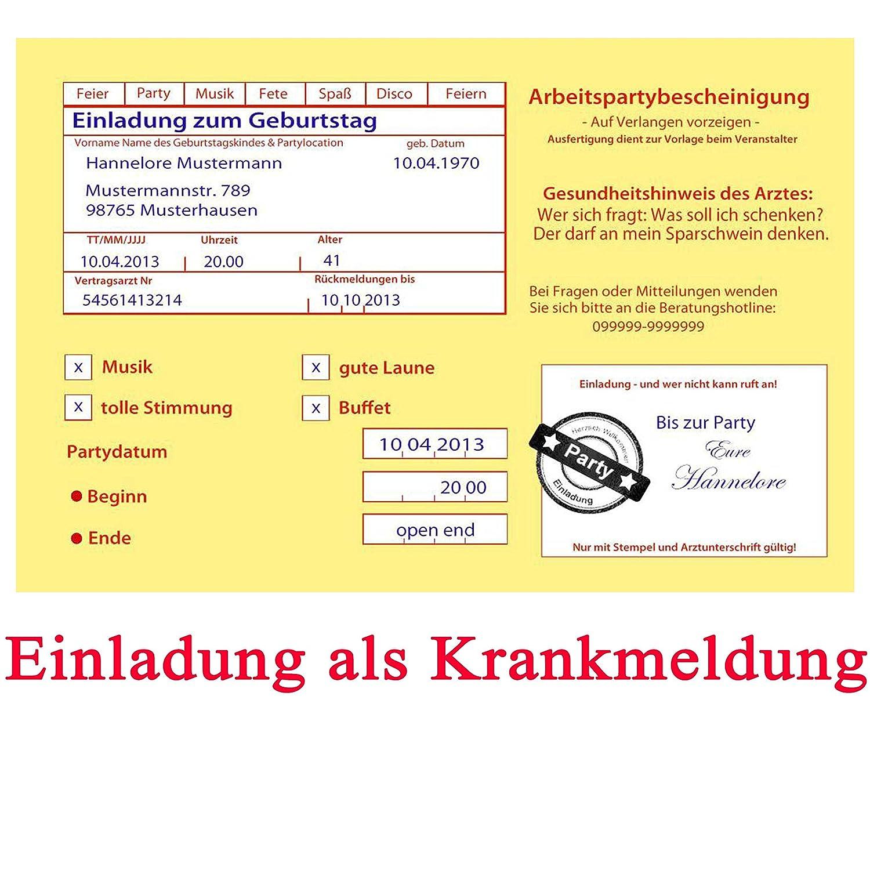 Einladungskarten zum Geburtstag Motiv: Krankenschein Krankmeldung ...