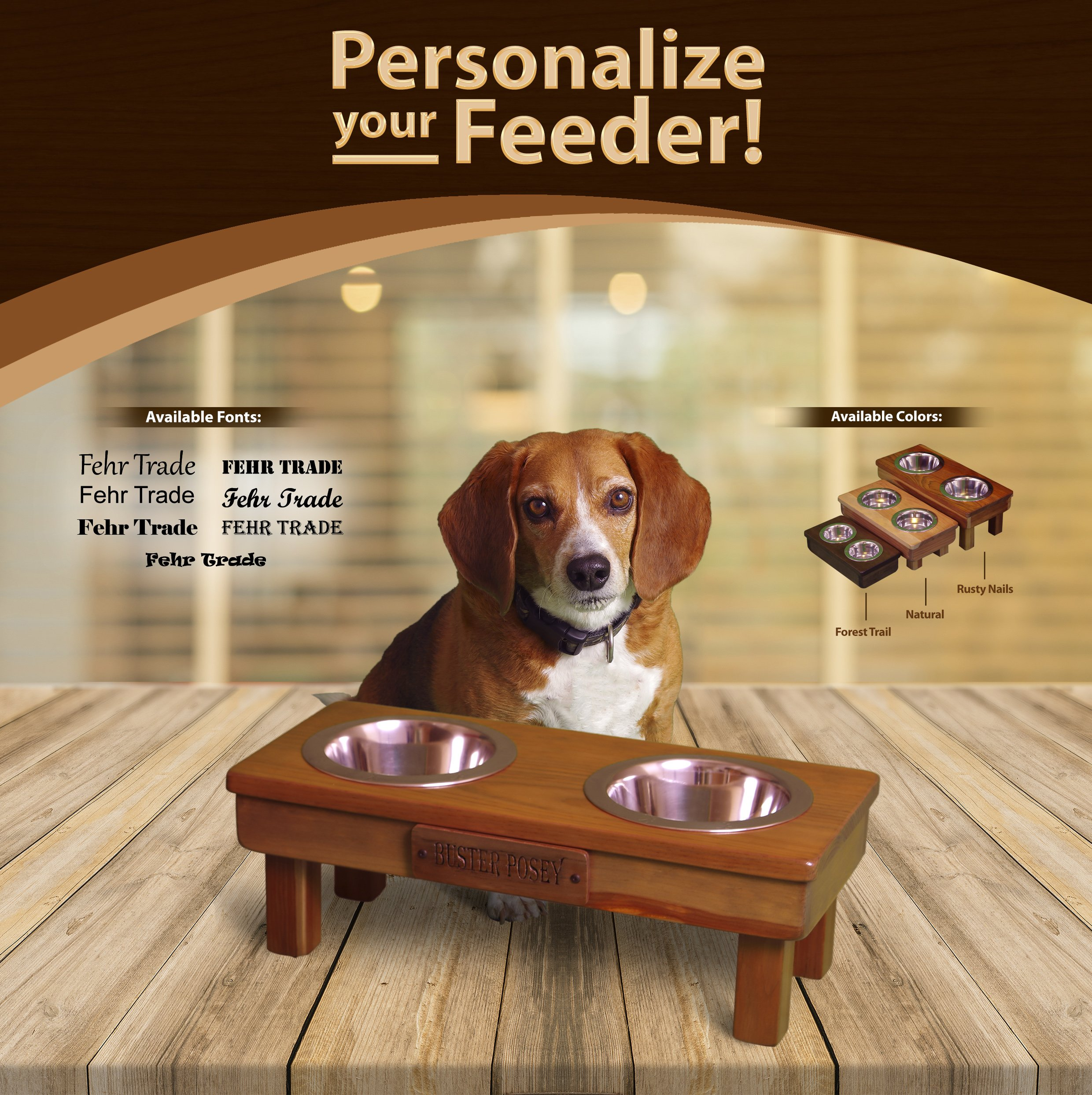 Personalized Nameplate for any Small, Toy or Teacup pet feeders from Ozarks Fehr Trade Originals