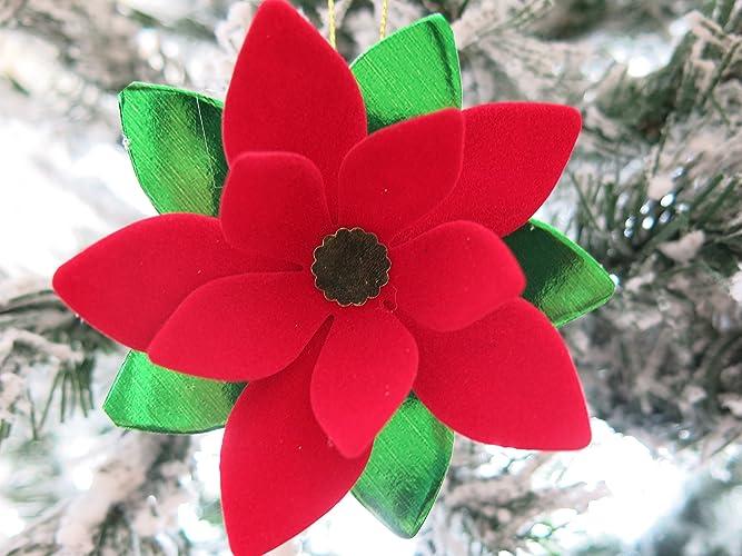 Amazon velvet poinsettia christmas tree ornament red paper velvet poinsettia christmas tree ornament red paper flower holiday decoration old fashioned xmas mightylinksfo