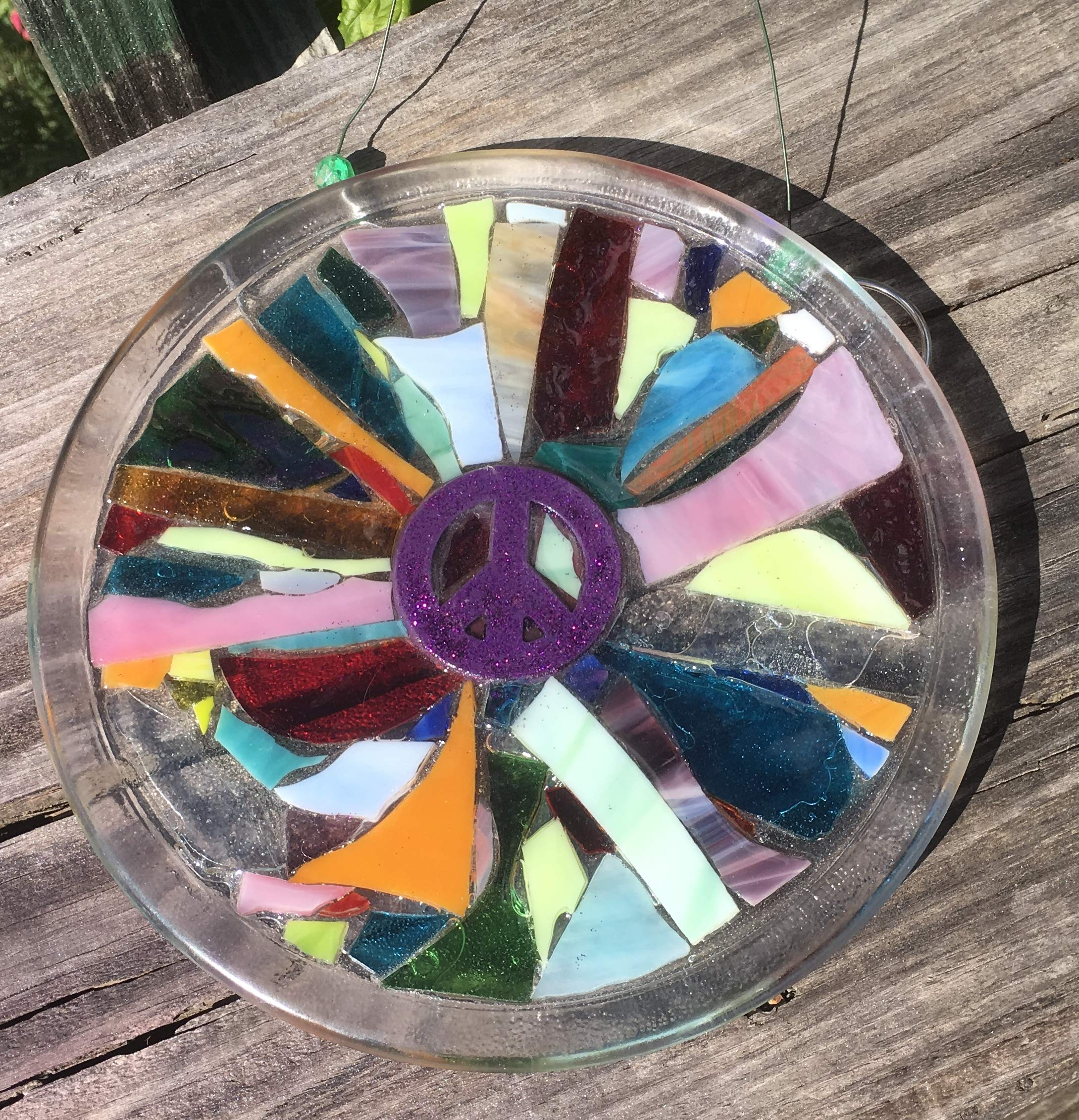Purple Peace Sign Stained Glass Window Art Sun Catcher