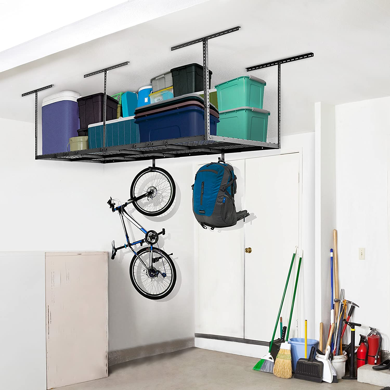 Amazon Fleximounts 4x8 Overhead Garage Rack With Add On Hooks Set Heavy Duty Height Adjustable Ceiling Racks 22 40 Dropdown Black Home