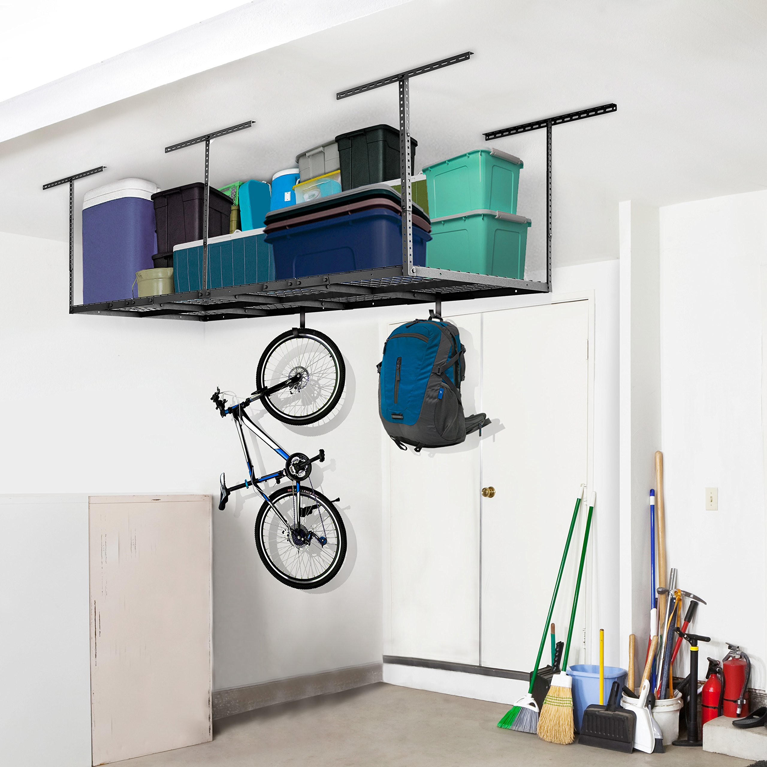 Fleximounts 4x8 Overhead Garage Rack with Add-on Hooks Set Heavy Duty Height Adjustable Ceiling Racks (22''-40'' Ceiling Dropdown), Black