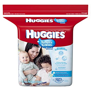 Huggies Baby Wipes 216 CT (Pack of 12)