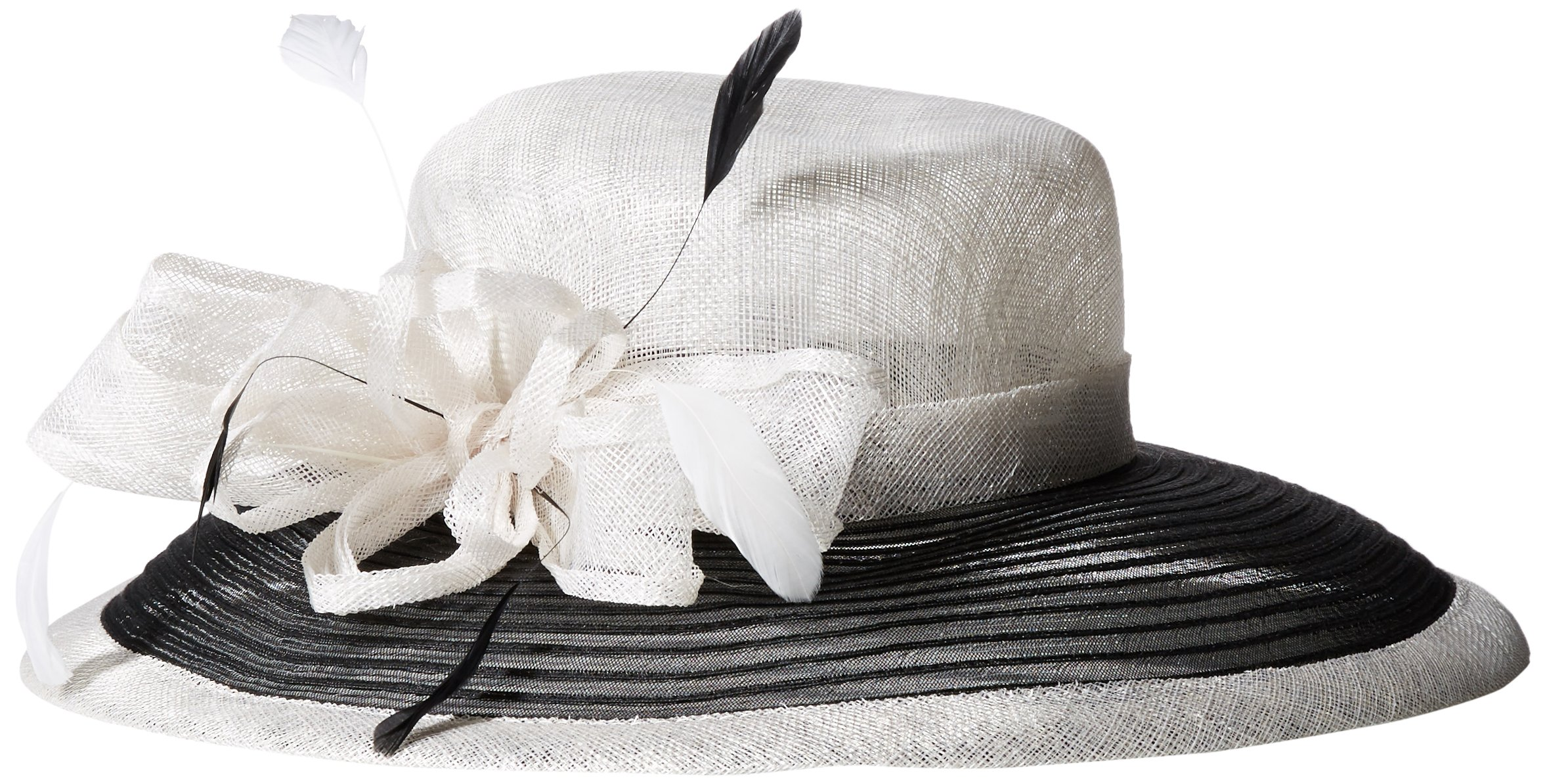 San Diego Hat Company Women's Color Block Dress Hat with Bow and Feathers, White/Black, One Size