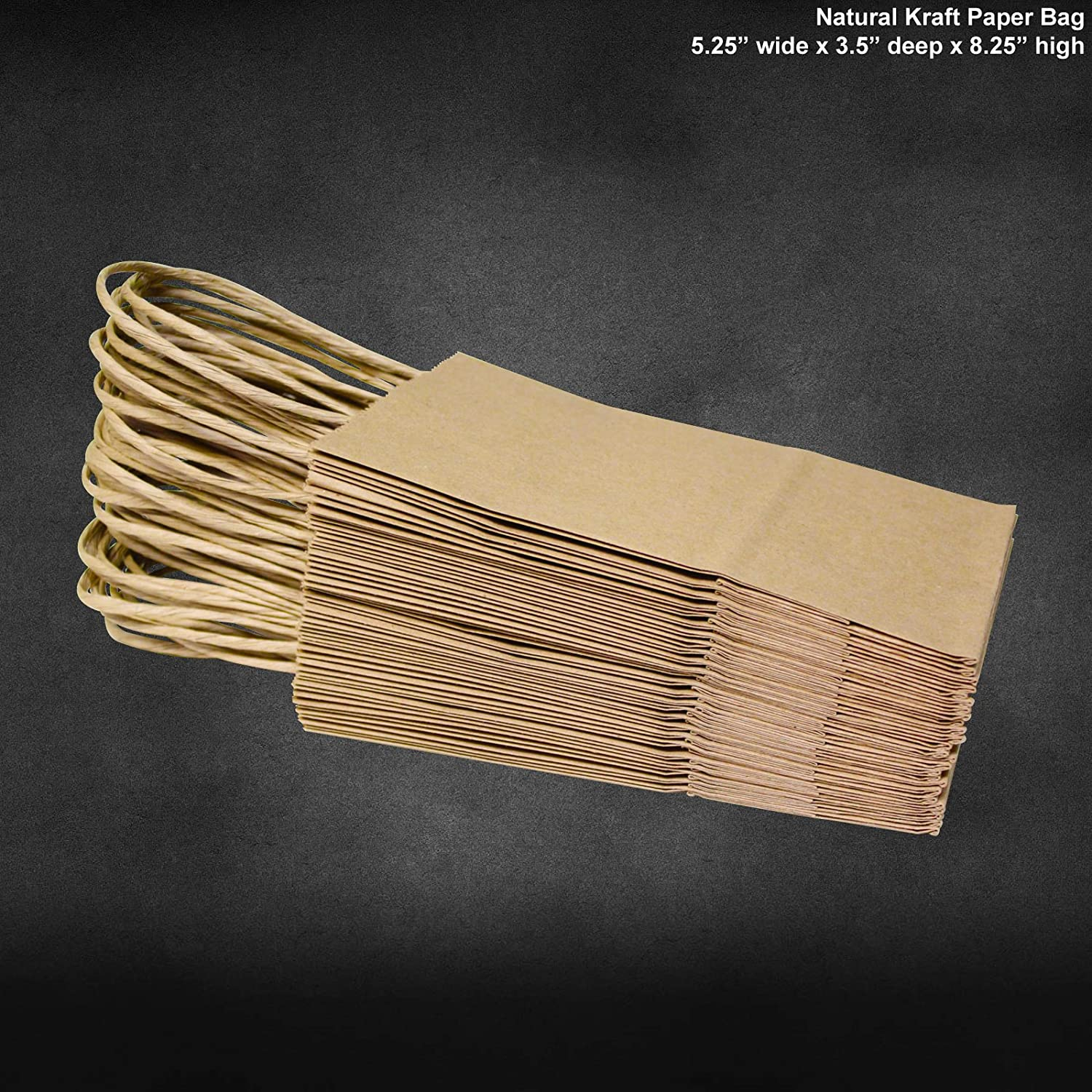 """100 Rose 5-1//4/"""" X 3-1//2/"""" X Prime Natural Kraft Shopping Bags with Handle"""