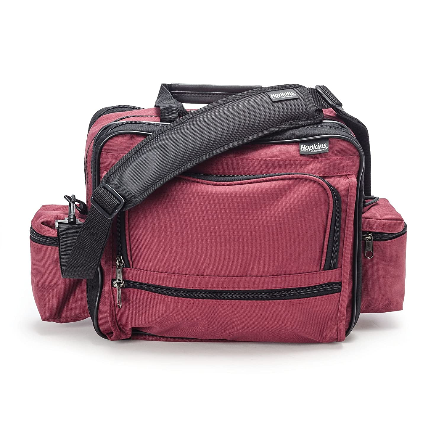 Hopkins Medical Products Mark V Shoulder Bag, HIPAA Compliant Lockable Zippers, Adjustable Straps, Reinforced Bottom, Fold-Down Compartment, 13 Inch x 11.25 Inch x 7.5 Inch, Red
