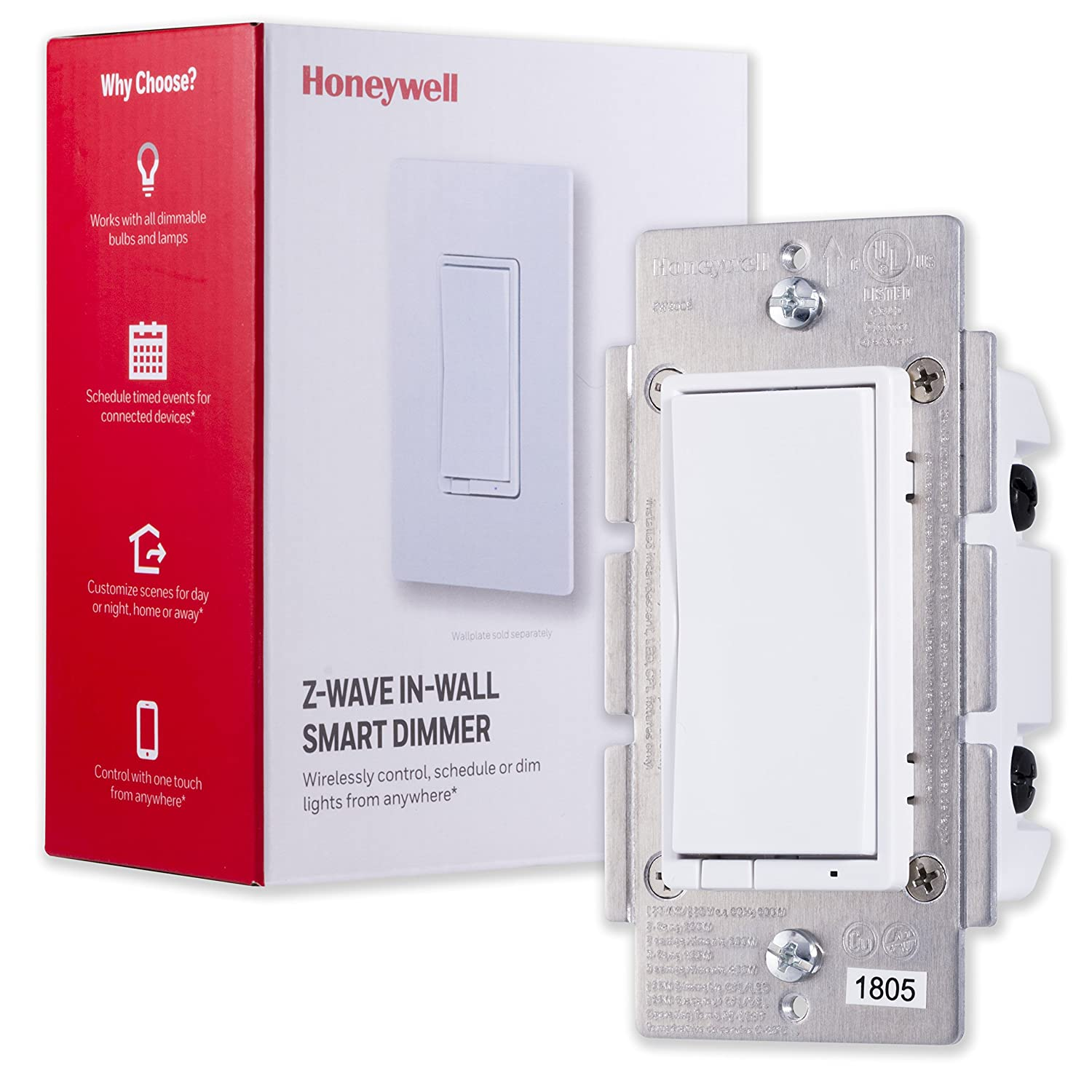 Honeywell Z-Wave Plus Smart Light Dimmer Switch, In-Wall Paddle, Interchangeable White & Almond |Built-In Repeater & Range Extender | ZWave Hub Required - SmartThings, Wink, Alexa Compatible, 39351