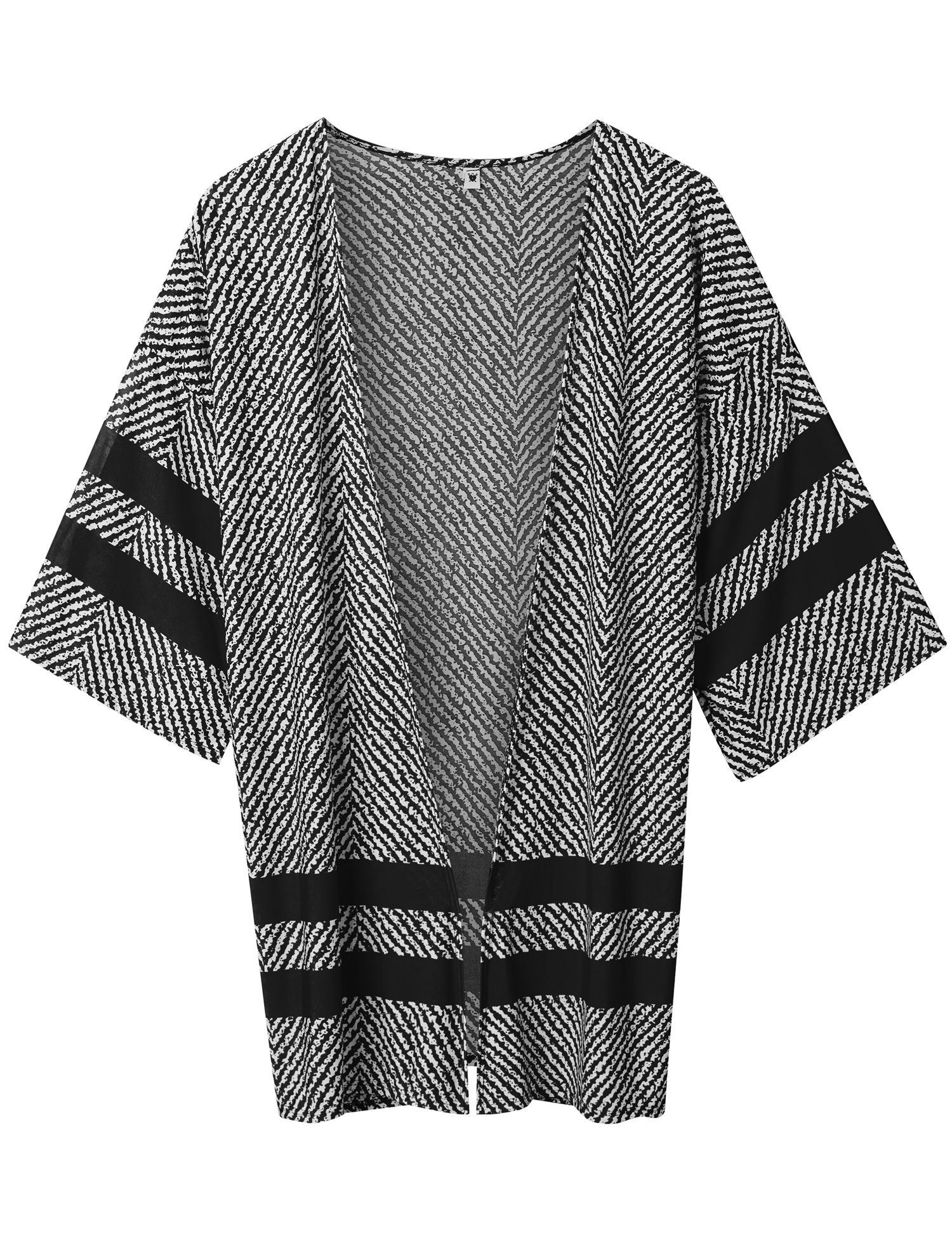 Lock and Love WT1576 Womens Printed Kimono Shawl Cardigan Top - Made in USA OS White_Black