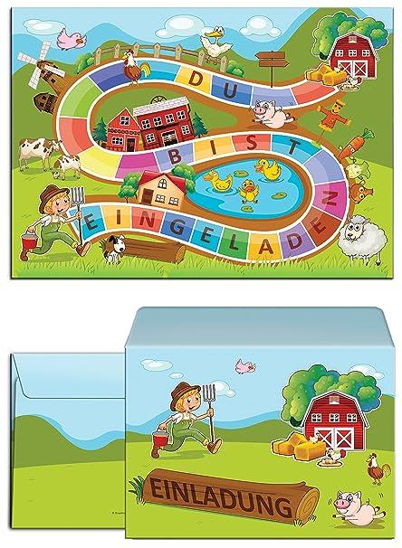 12 Tarjetas De Invitación Para Cumpleaños Infantiles Granja