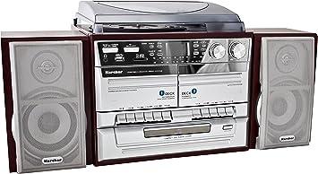 importado Cadena de m/úsica tocadiscos, pletina para casetes, reproductor CD//MP3, radio, USB, lector de tarjetas SD, 75 Ohm color plateado Dual MP 301