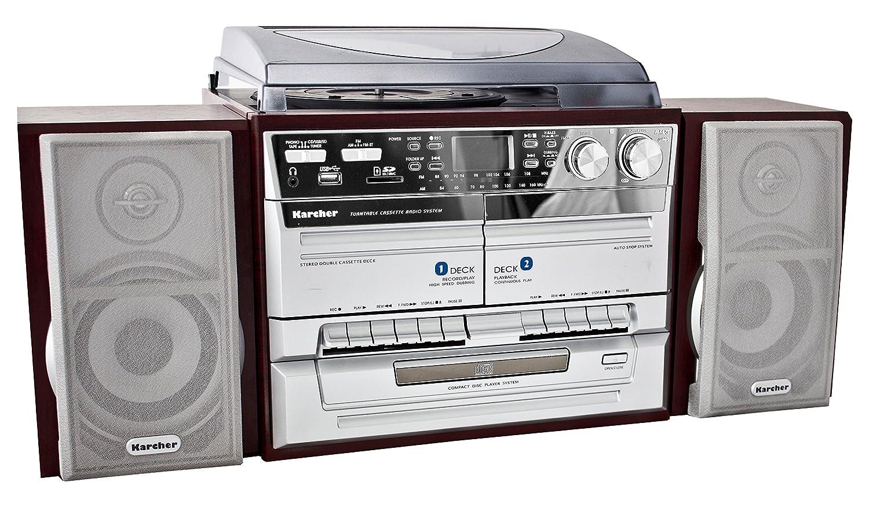 Kärcher KA 320 - Minicadena con reproductor de CD, doble pletina, tocadiscos, (importado de Alemania)