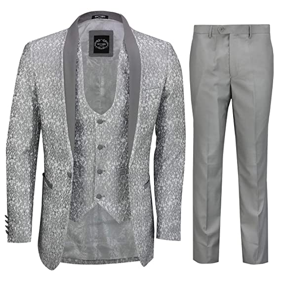Mens 3 Piece Silver Grey Jacquard Suit Tailored Fit Floral ...