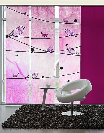 Emotiontextiles 10292 Panel Curtain Room Divider Set Of 3 Crazy Birds  Schiebevorhand, 180 X 260