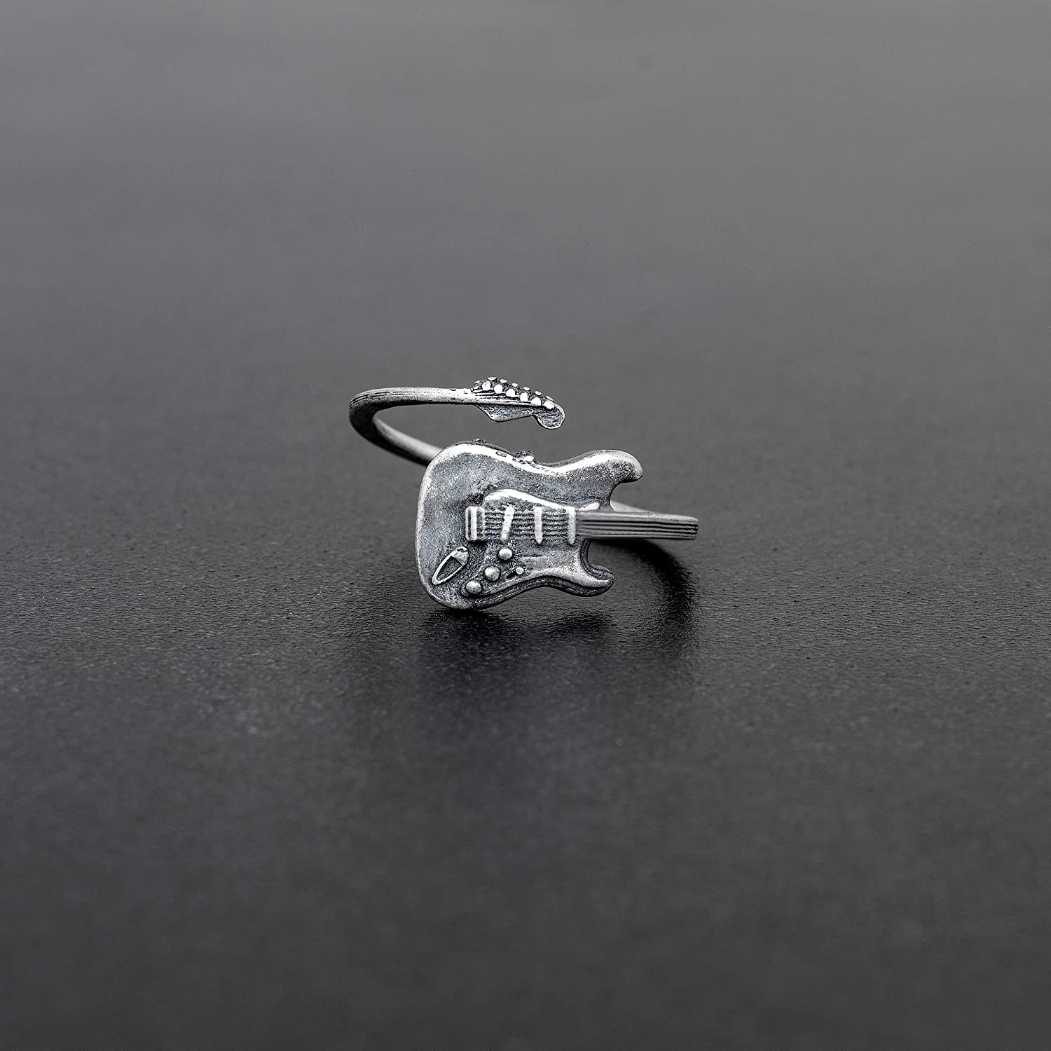 Musician 925 Sterling Silver Guitar Wrap RingAdjustable Size 7-12