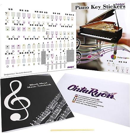 Pegatinas de Notas para Teclas de Piano Reutilizables para ...