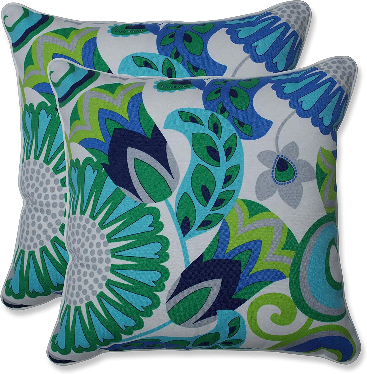 Amazon Com Pillow Perfect Outdoor Indoor Sophia Throw Pillows 18 5 X 18 5 Turquoise Green 2 Pack Home Kitchen