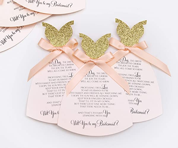 Amazon Com Will You Be My Bridesmaid Invitation Set Of 6 Luxury