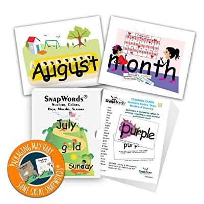 SnapWords Numbers, Colors, Days, Months, Seasons Teaching Cards: Industrial & Scientific