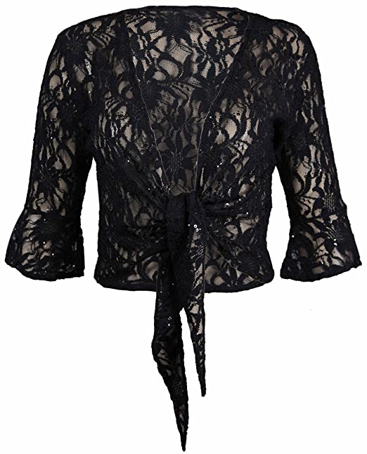 650a554677e0f New Womens Floral Lace 3 4 Three Quarter Short Sleeve Ladies Front Tie Up  Sequin Shrug Bolero Stretch Cropped Top Cardigan Plus Size  Amazon.co.uk   Clothing