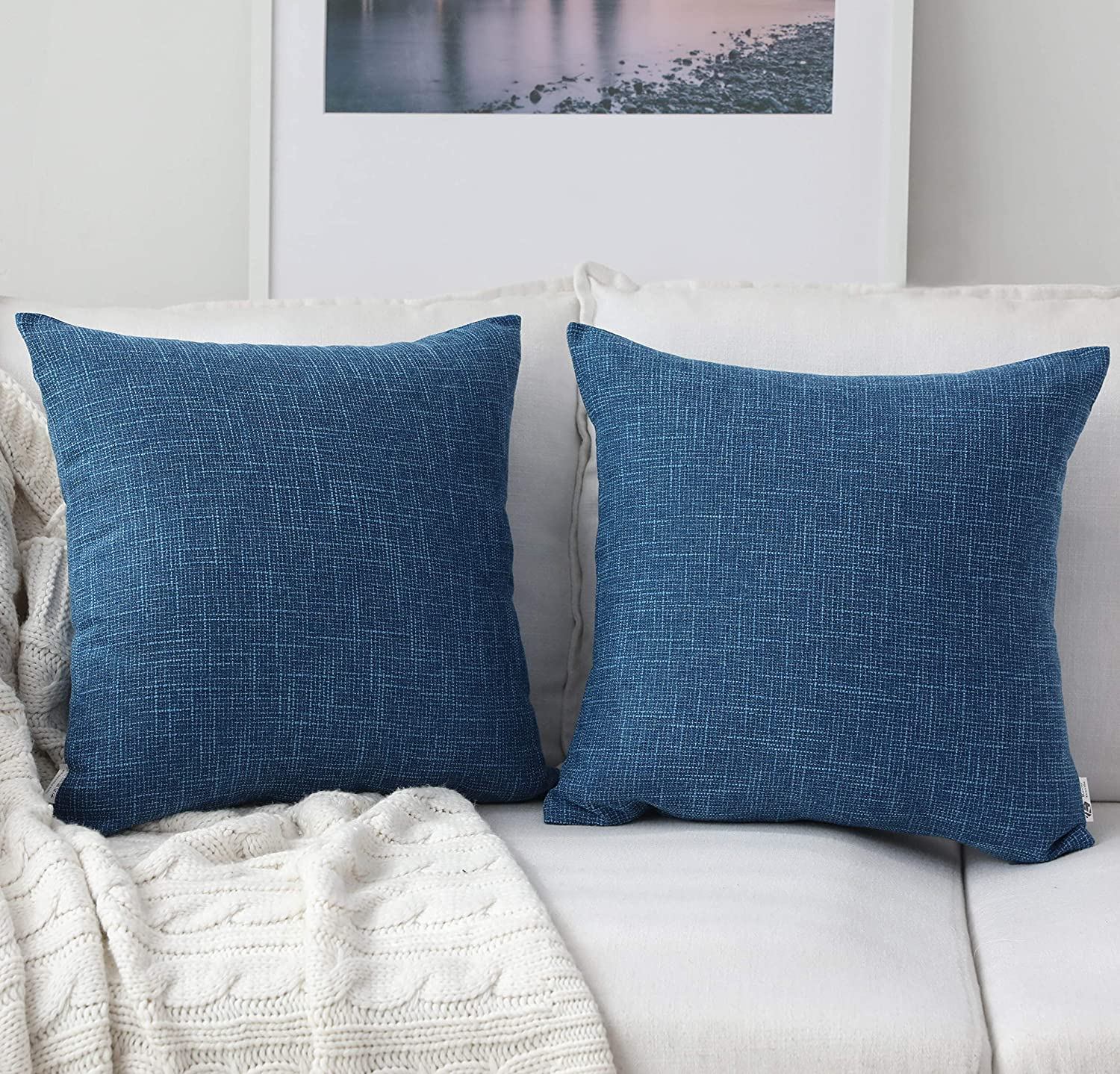 Kevin Textile Decorative Square Throw Pillow Covers Set Cushion Case for Sofa/Bedroom/Car, Set of 2, 20x20 inch, Navy Blue