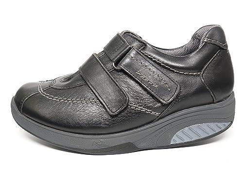 Fluchos Zapatos Cómodos Mujer Tipo Mercedes Cierre Velcro Balancín - 7823 (35, Negro)