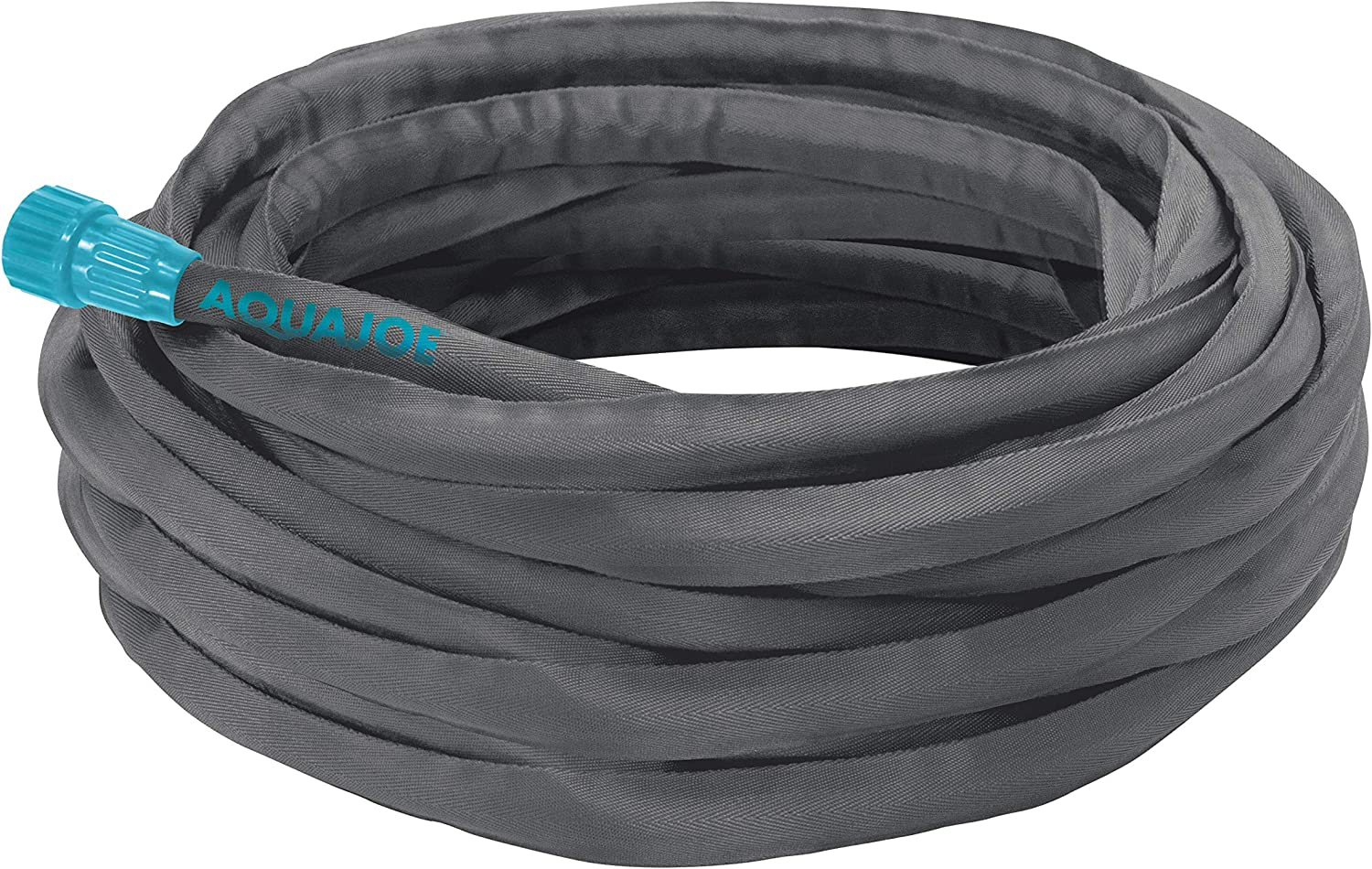 Aqua Joe AJFJH75 75-Foot Ultra Flexible Kink Free Fiberjacket Garden Hose, Grey