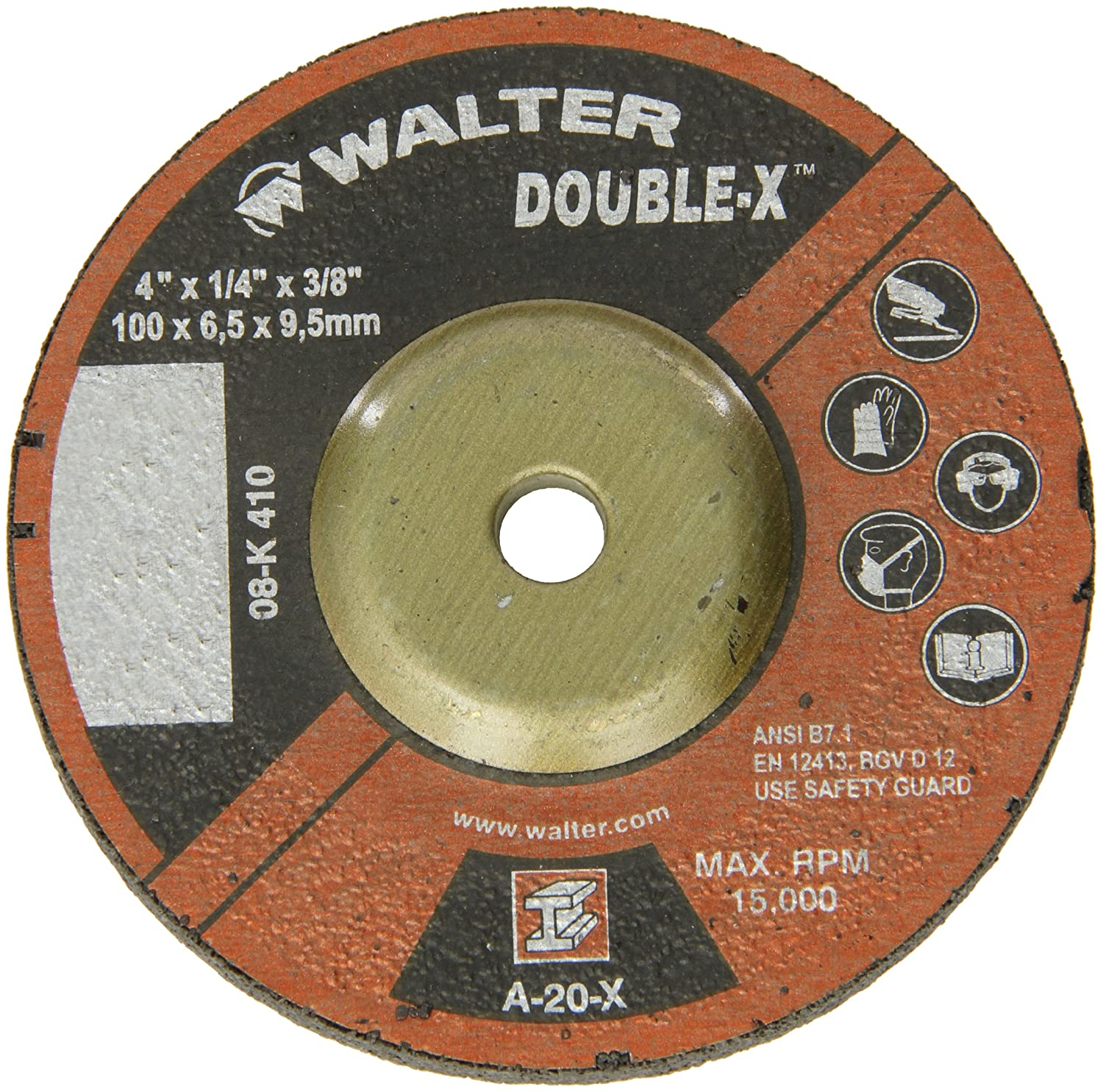 Abrasive Wheels and Discs Walter Surface Technologies A-16-X Grit Pack of 10 Abrasive Finishing Wheel with Arbor Hole Fastening Walter 08K905 HP XX Grinding Wheel - 9 in