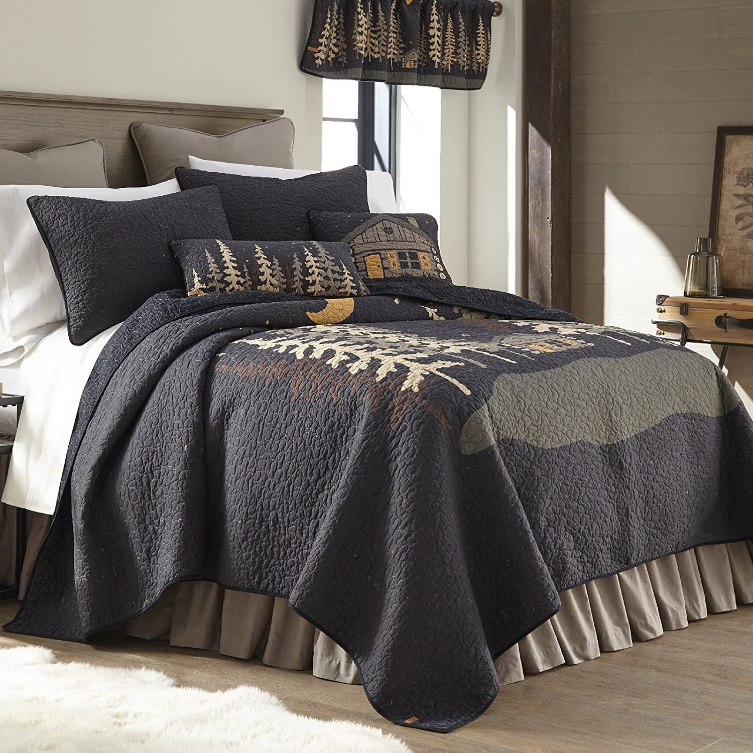 King Quilt - Moonlit Cabin by Donna Sharp - Lodge Quilt with Forest Pattern - Machine Washable