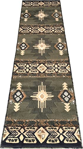 Rugs 4 Less Collection Southwest Native American Indian Runner Area Rug Design R4L 318 Olive Green, Sage Green 2 X7