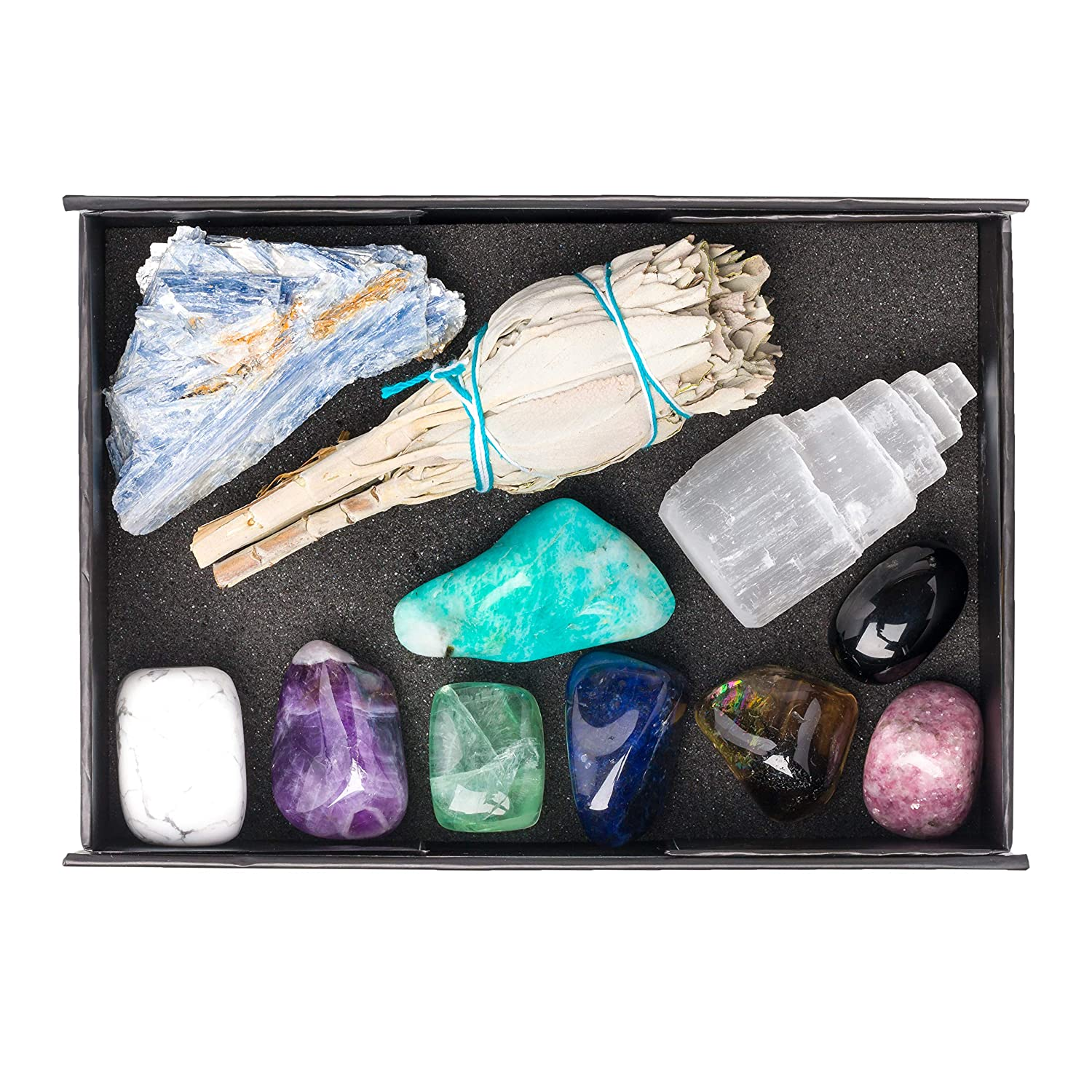 Premium Grade Crystals for Relaxation, Stress Relief, Anxiety, Sleep / 11 pc Calm Crystal Healing Set - Amethyst, Lepidolite, Fluorite, Smoky Quartz, Howlite, Sage & More + Info Guide/Gift Ready