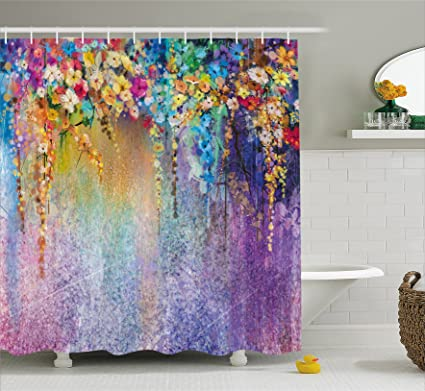 Ambesonne Watercolor Flower Home Decor Shower Curtain Abstract Herbs Weeds Blossoms Ivy Back With Florets