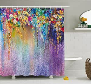 "Ambesonne Flower Shower Curtain, Abstract Herbs Alternative Medicine Blossoms Ivy Back Florets Shrubs Design, Cloth Fabric Bathroom Decor Set with Hooks, 70"" Long, Multicolor"