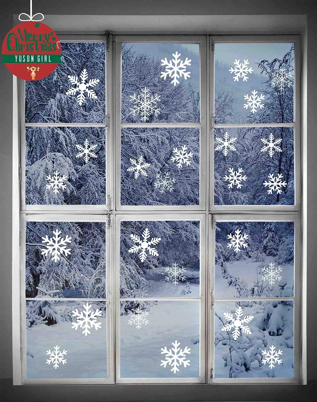Adesivi natalizi, Yuson Girl Adesivi Murali Stelle Nevi Puntini Merry Christmas DIY Stickers Decorazione Vetrina Wallpaper fiocco di neve (86 PZ))