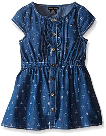 7e146d441 Amazon.com: Tommy Hilfiger Baby-Girl's Printed Dark Blue Chambray Dress:  Clothing