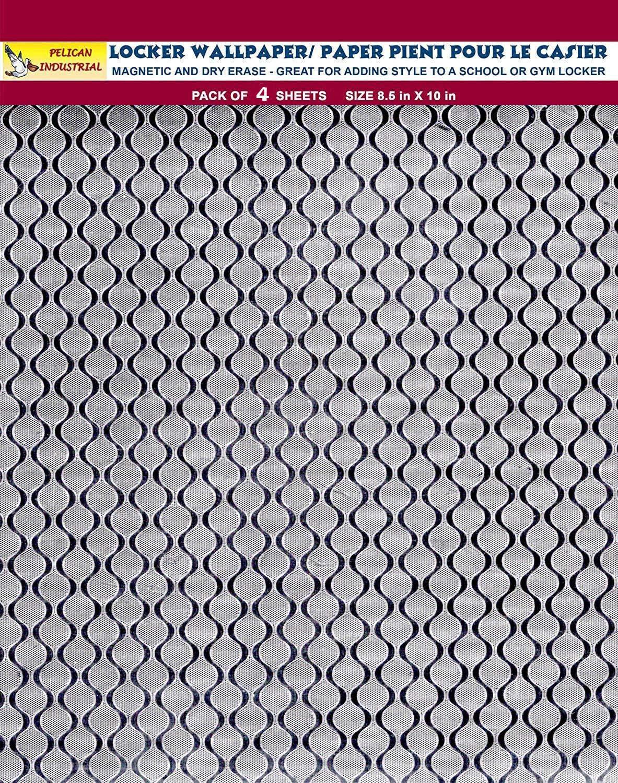 Magnetic Locker Wallpaper - Dry Erasable Glitter Sparkles Designs, Embossed Foil - Full Sheet Magnetic - Pack of 4 Sheets - Silver