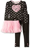 Young Hearts Little Girls' 2 Piece Heart Pullover With Skirt Set