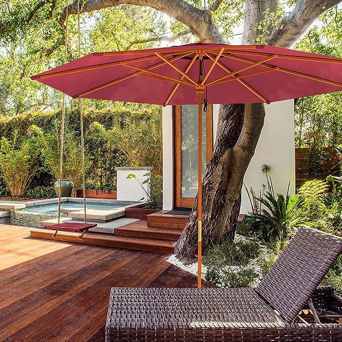 paramondo Parasol parakoala sombrilla de Madera, 3m, Redonda, Color Burdeos: Amazon.es: Jardín