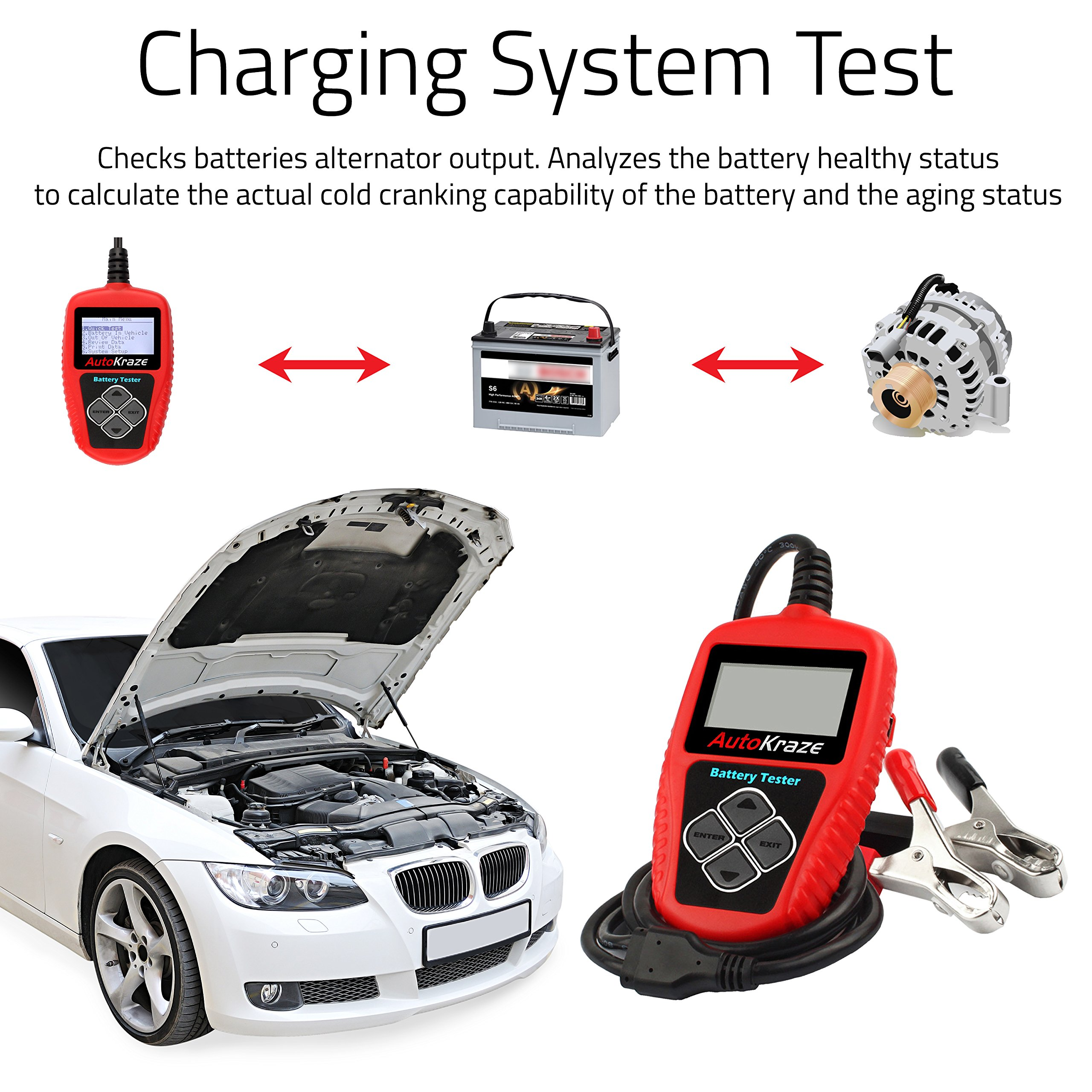 AutoKraze BA101 Automotive Battery Load Tester 12V 100-2000 CCA Bad Cell Test Analyzer Tool Directly Test Car, Boat, and Motorcycle Battery Status Portable, Digital and Rechargeable Battery Tester by AutoKraze (Image #8)