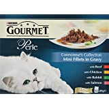 Purina Gourmet Perle Wet Cat Food Mini Fillets in Gravy, 48 x 85 g - Connoisseur's Collection (Pack of 4)
