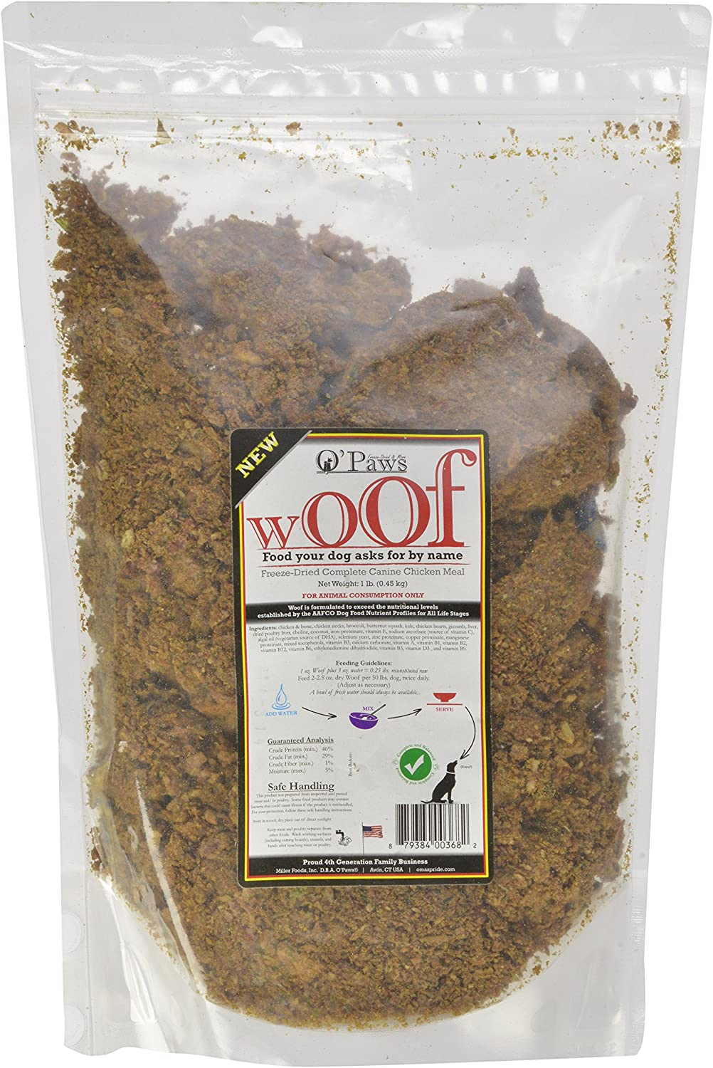 Omas Pride O Paws Woof Freeze Dried Complete Canine Chicken Meal For Pets, 1-Pound