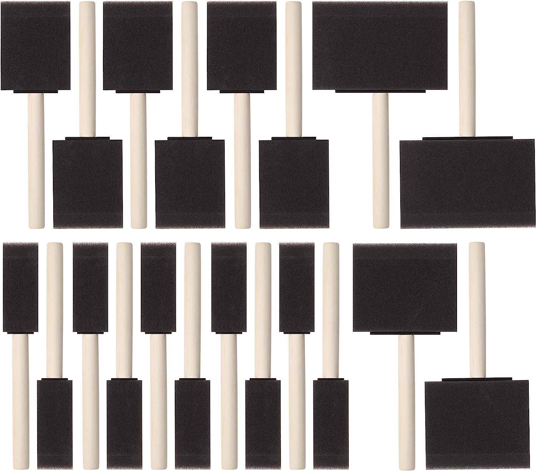 Bates- Foam Paint Brushes, Assorted Sizes, 20 Pcs, Sponge Paint Brush, Foam Brushes, Foam Brushes for Painting, Foam Brushes for Staining, Foam Brushes for Polyurethane, Sponge Brushes for Painting