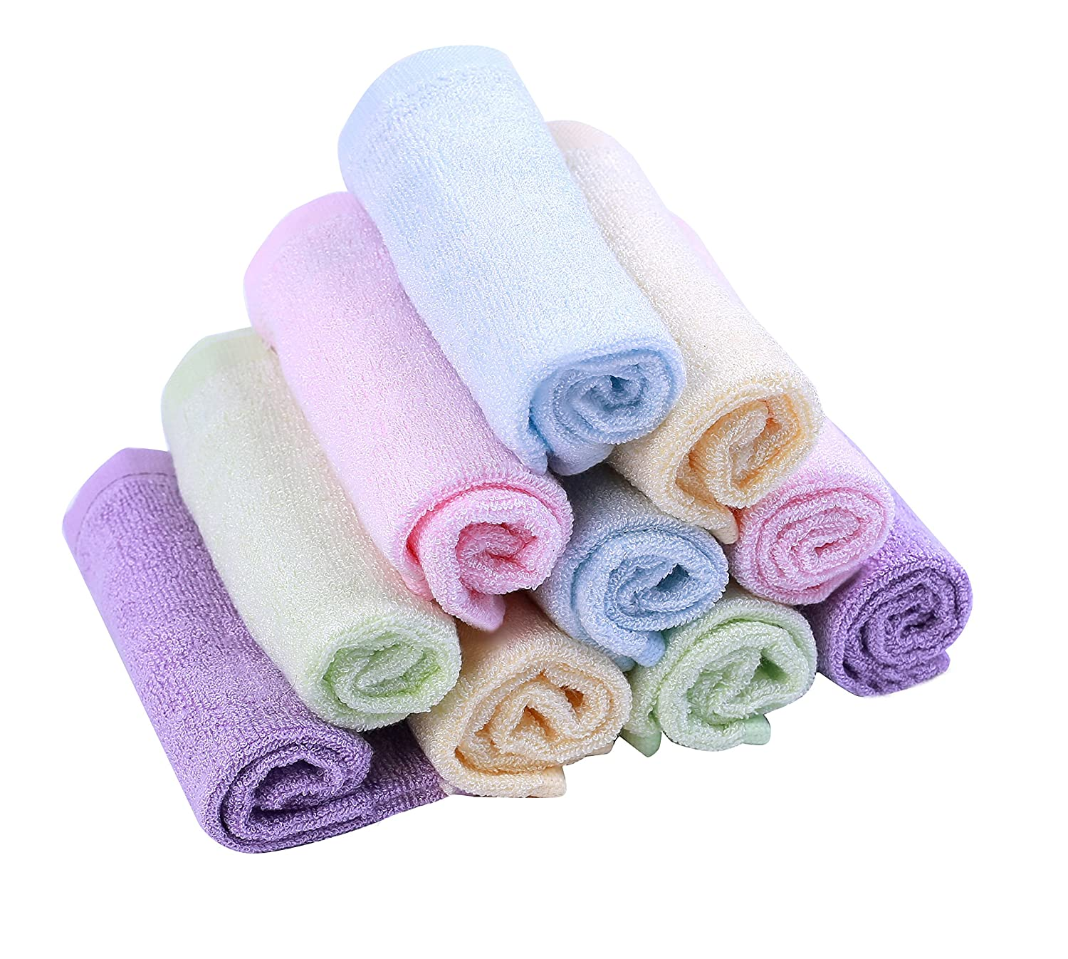 Moolecole Bamboo Fiber Baby Washcloths Extra Soft Towel for Baby's Sensitive Skin Absorbent and Reusable Baby Wipes Excellent Baby Gift Set, 10-pack