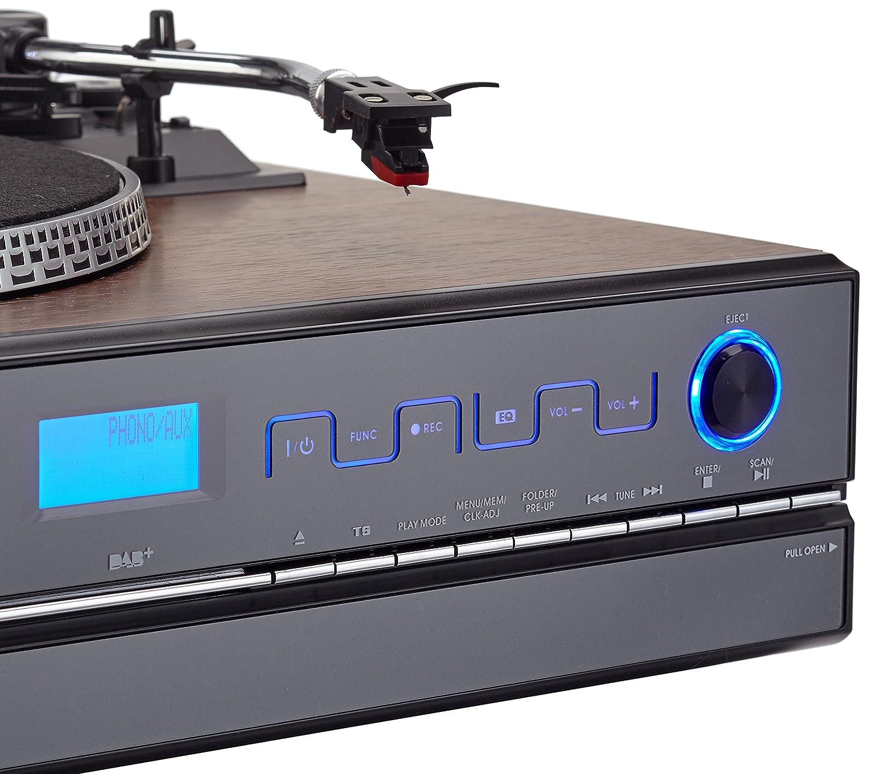 Dual NR Minicadena con Tocadiscos (Reproductor de CD, MP3, 3,5 mmm) Negro