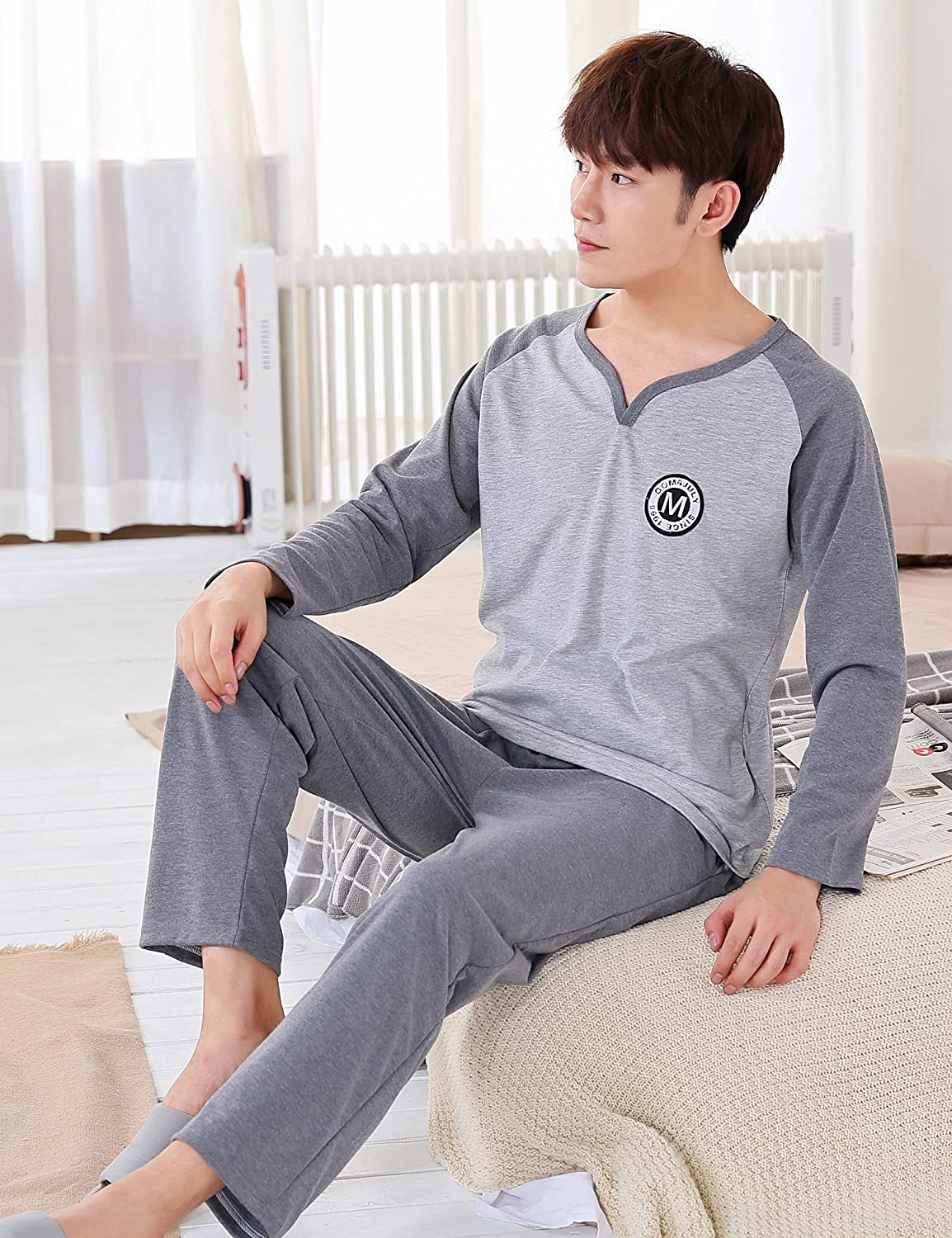Aibrou Mens Pyjama Sets Mens Cotton Loungewear Set Cotton Sleepwear Set Full Length Gents for All Seasons
