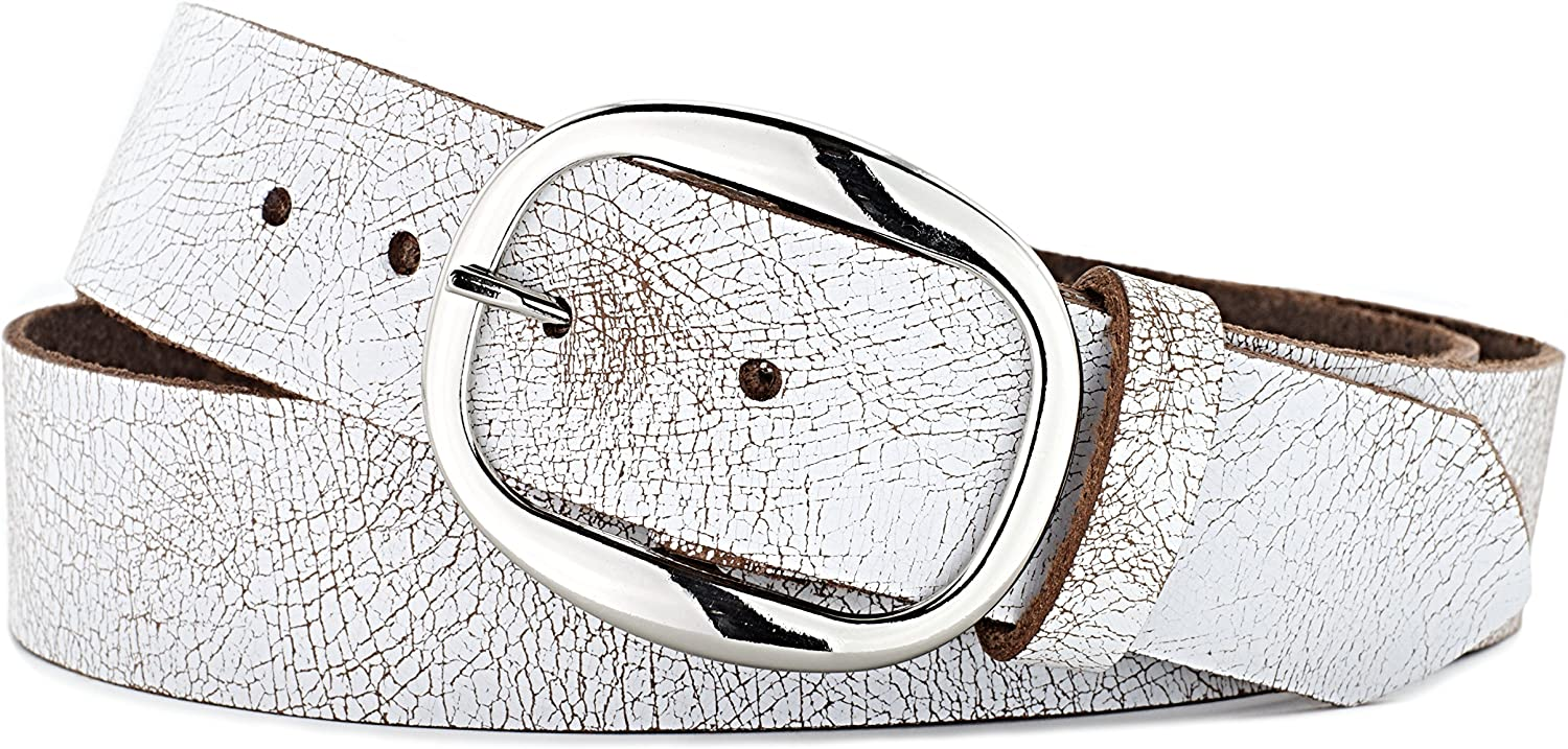 Naleeni Mens White Leather Belt with Buckle Options Made in USA 1.5 Inch Wide