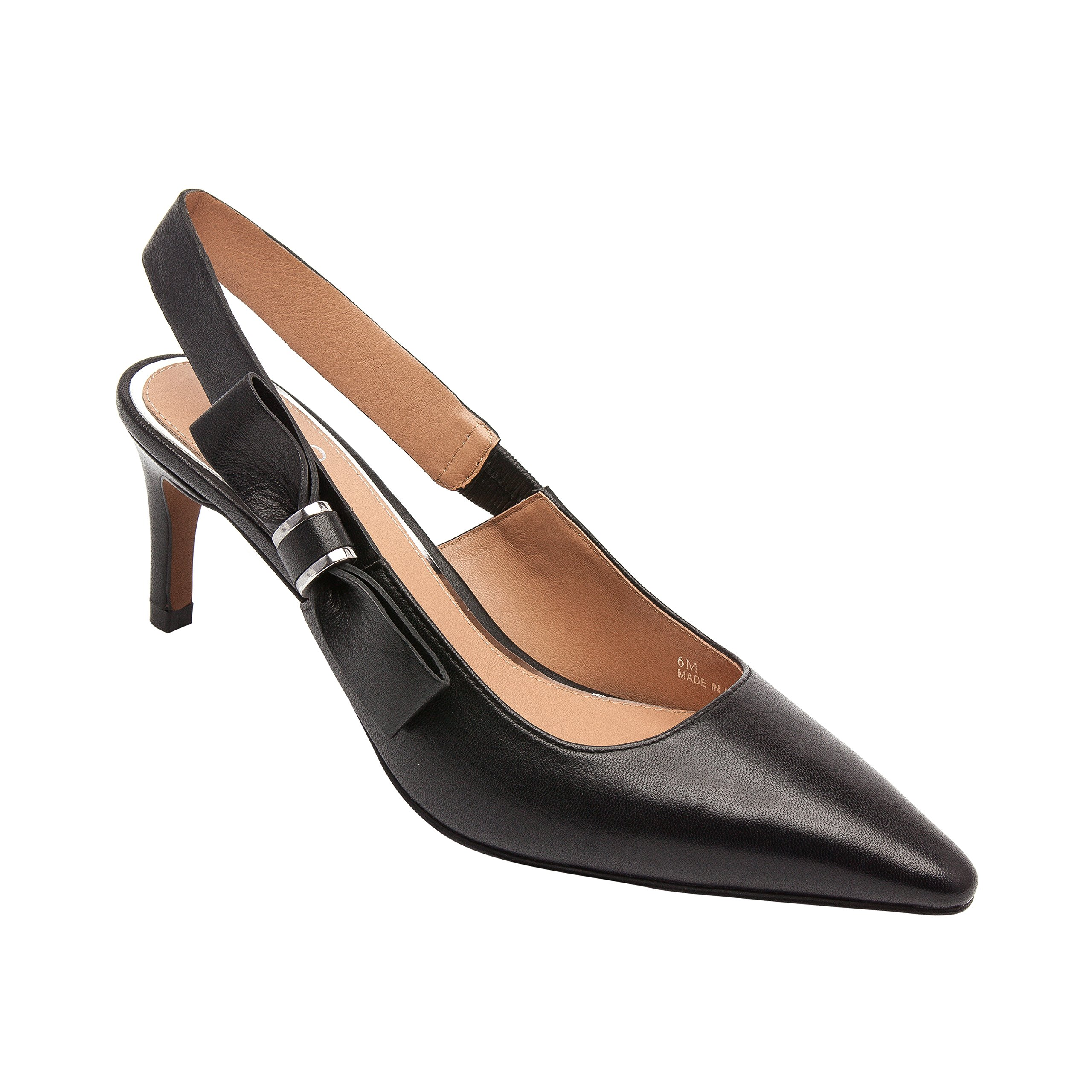 Linea Paolo Cora   Women's Pointy Toe Mid-height Leather Slingback (New Spring) Black Leather 10M
