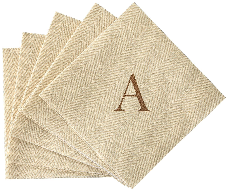 Monogram Initial A Pack of 30 Entertaining with Caspari Jute Herringbone Paper Linen Cocktail Napkins