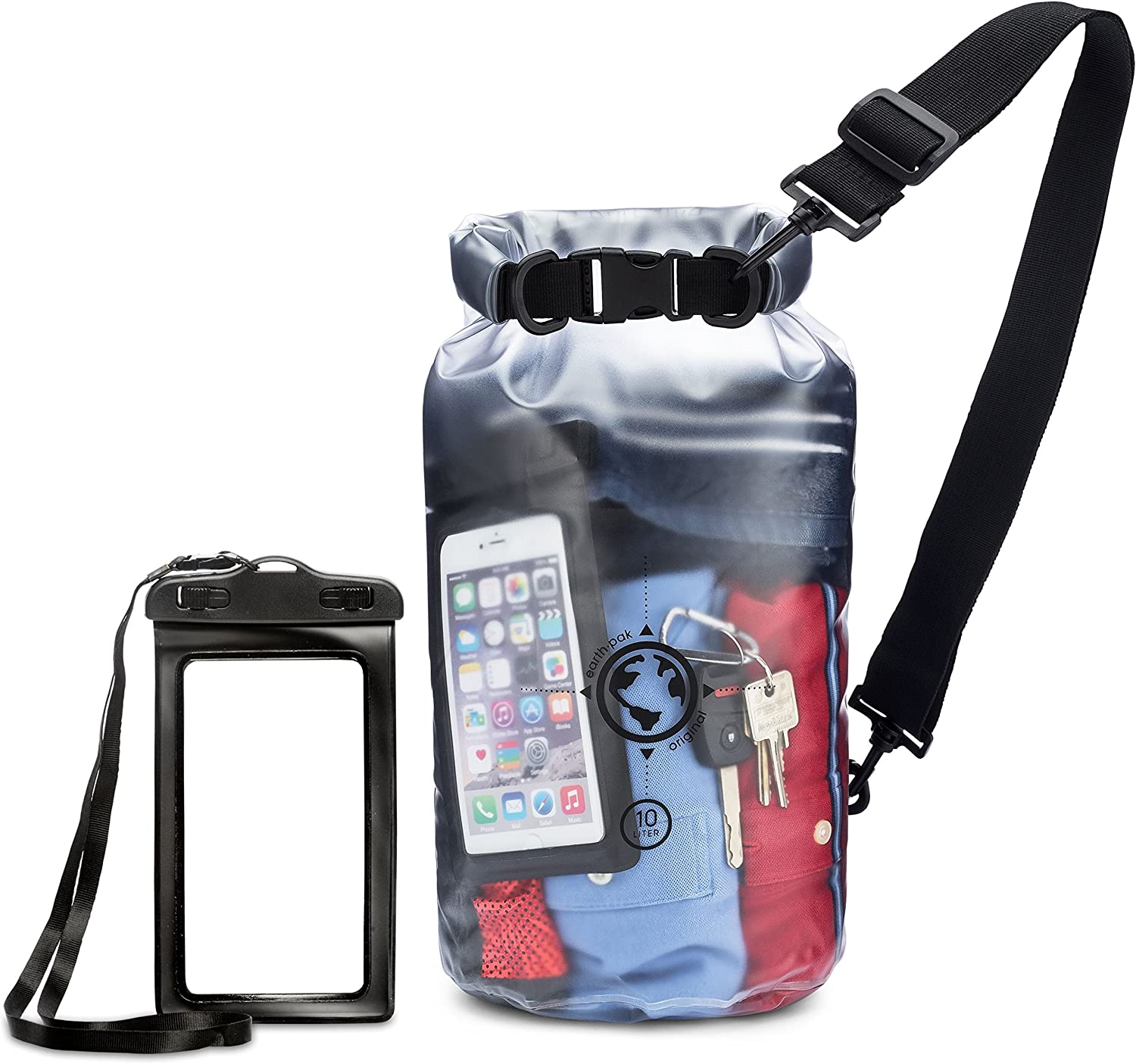 Earth Pak Waterproof Bag- 10L / 20L Sizes - Transparent Dry Bag So You Can See Your Gear - Keep Your Stuff Safe and Secure While at The Beach, Swimming, Fishing, Boating, Kayaking