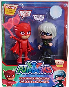 PJ Masks Talking Figure Set-Owlette Vs Luna Girl, Multicolor